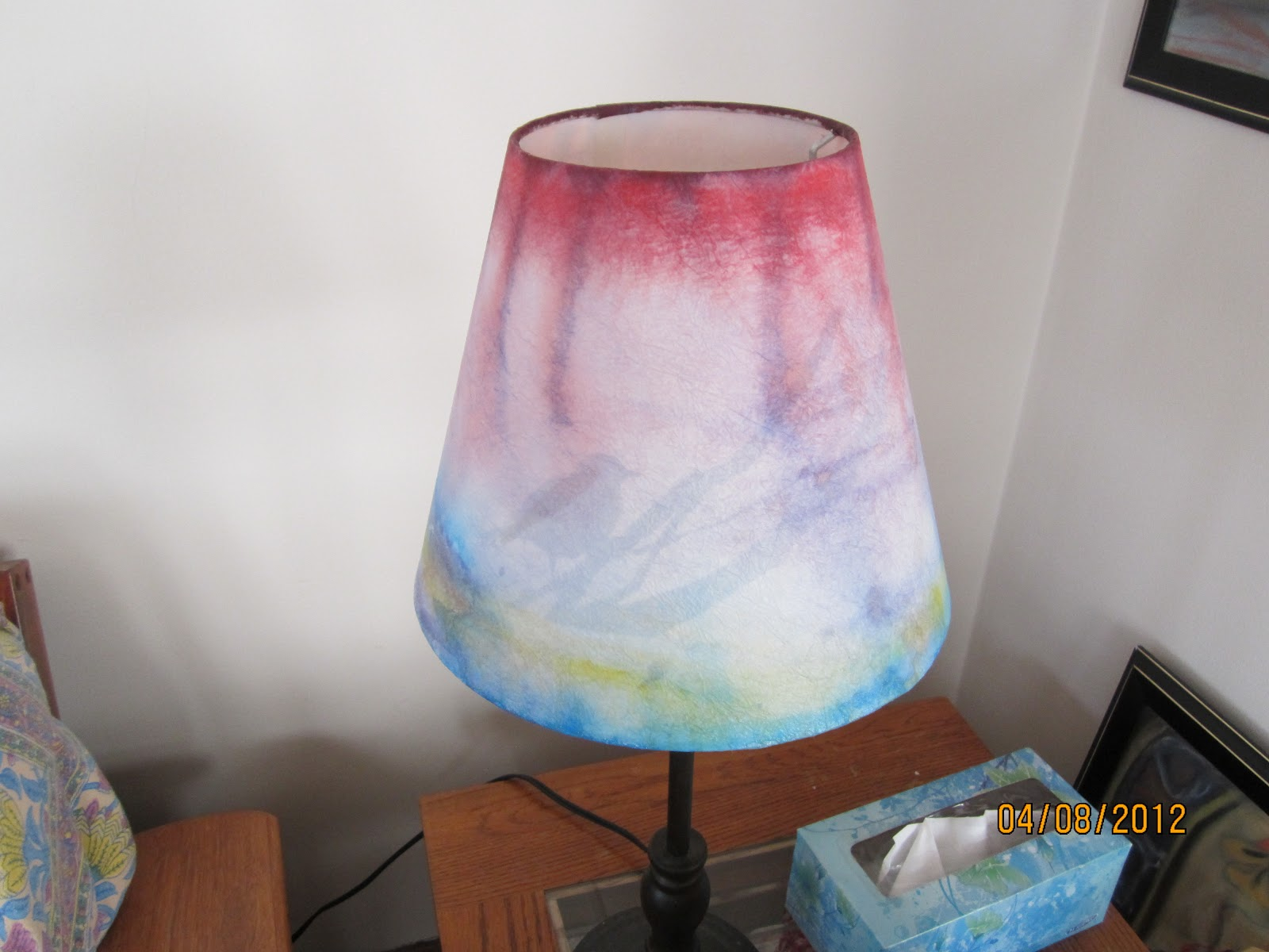 Homemade and Colorful: Water Colored Lamp Shades