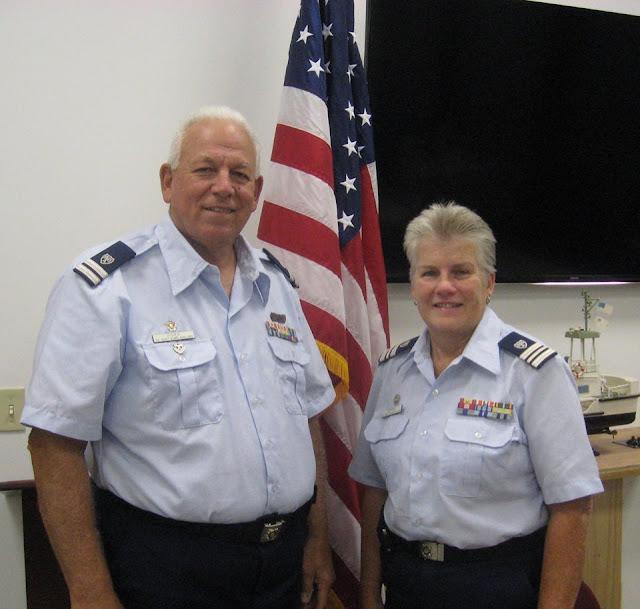 Noreen Schifini, Flotilla 16-03, Division Commander elect, and John Fisher, Flotilla 16-07, Division Vice Commander elect.