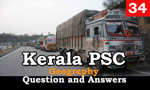 Kerala PSC Geography Question and Answers - 34