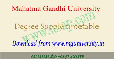 MGU degree supply time table 2018-2019 pdf, Results