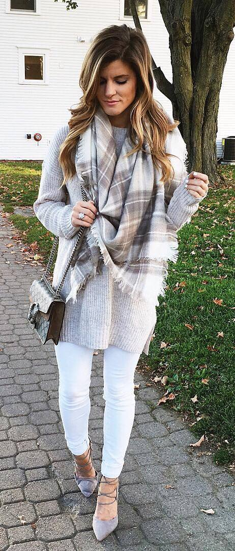 cool outfit idea : sweater + bag + plaid scarf + white skinnies + heels