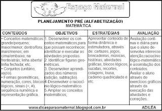 Planejamento de matemática pré-escola