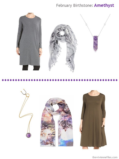 how to wear amethysts with a grey dress or a brown dress