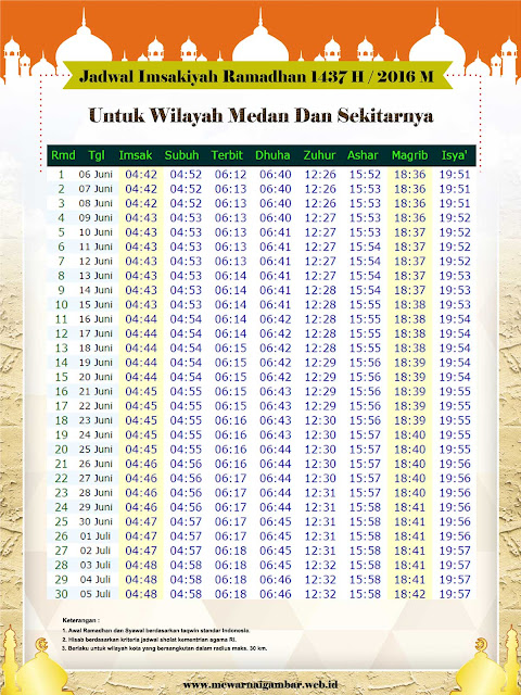 Jadwal Imsakiyah Ramadhan 1437 H / 2016 M Untuk Kota Medan