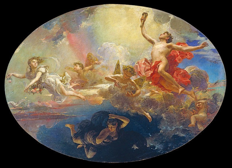 The Triumph of Day Over Night Preceded by Dawn. Antoni Caba, Barcelona, 1838-1907 Museu Nacional d'Art de Catalunya, Barcelona, Spain.