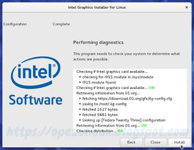 Intel Graphics Installer for Linux procurando por atualizações