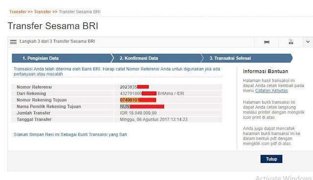 Bukti Transfer MandiriQQ Rp 18.049.000