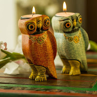 Brightly Decorated Hand Carved Wooden Tea Light Candle Holders