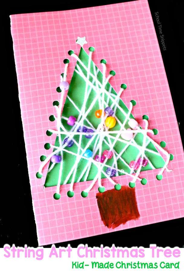 String Christmas Tree Card for Kids to Make | School Time Snippets