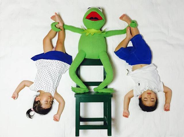 Mamãe criativa cria divertidas fotos na hora da soneca dos seus filhos