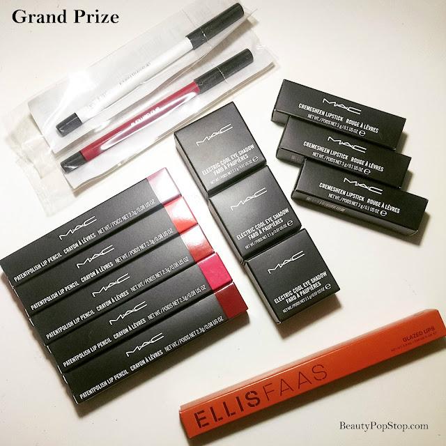 Back to School Beauty Giveaway with MAC Cosmetics lipstick and eyeshadow, butterLONDON nail polish, Shu Uemura eyeliner and Ellis Faas lip glaze L304