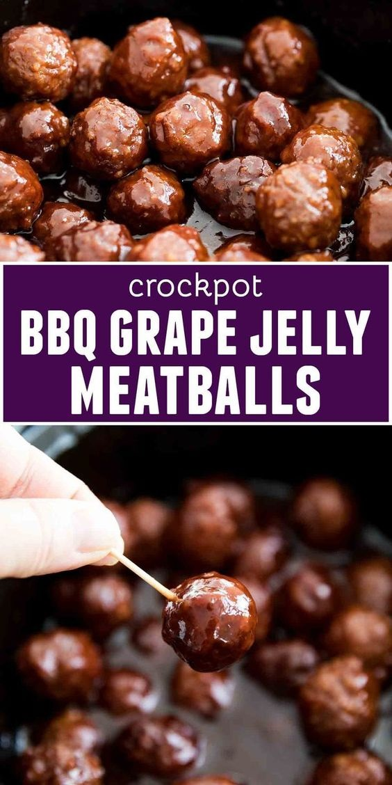 Crockpot BBQ Grape Jelly Meatballs