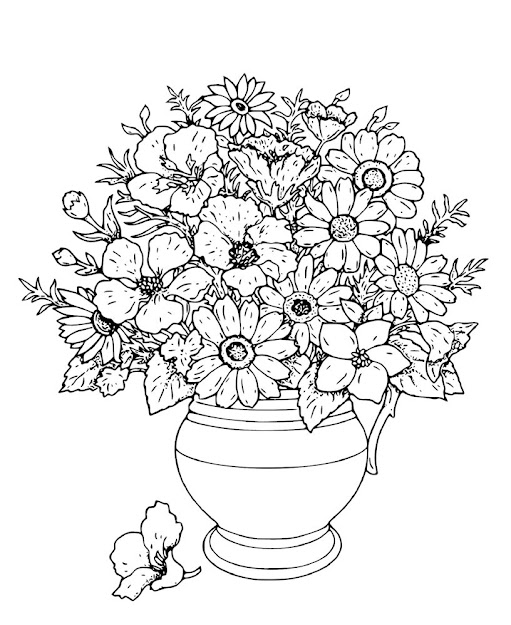 Flower In Vase Coloring Pages