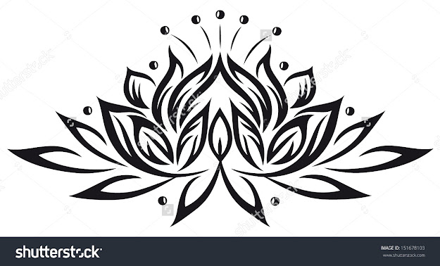 Filigree Lotus Flower Black Vector