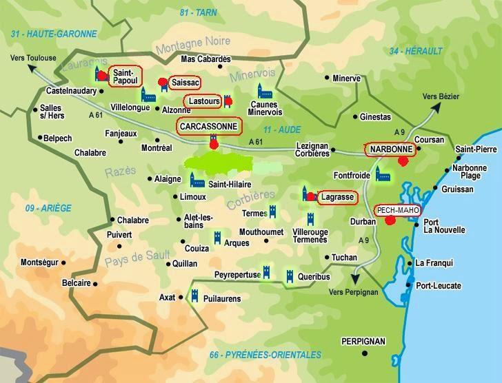 Mapa Aude Pays Cathare Carcassonne Lastours Narbonne Pech Maho