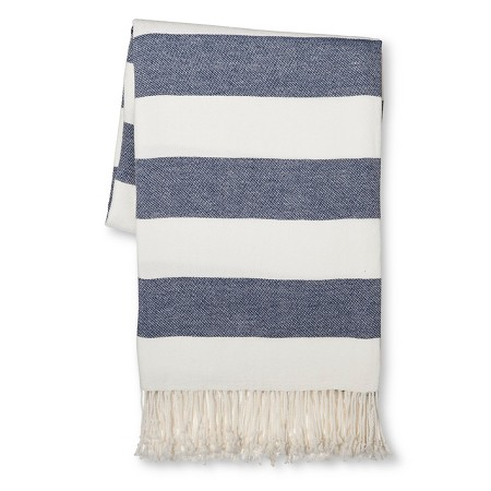 navy and white striped throw blanket