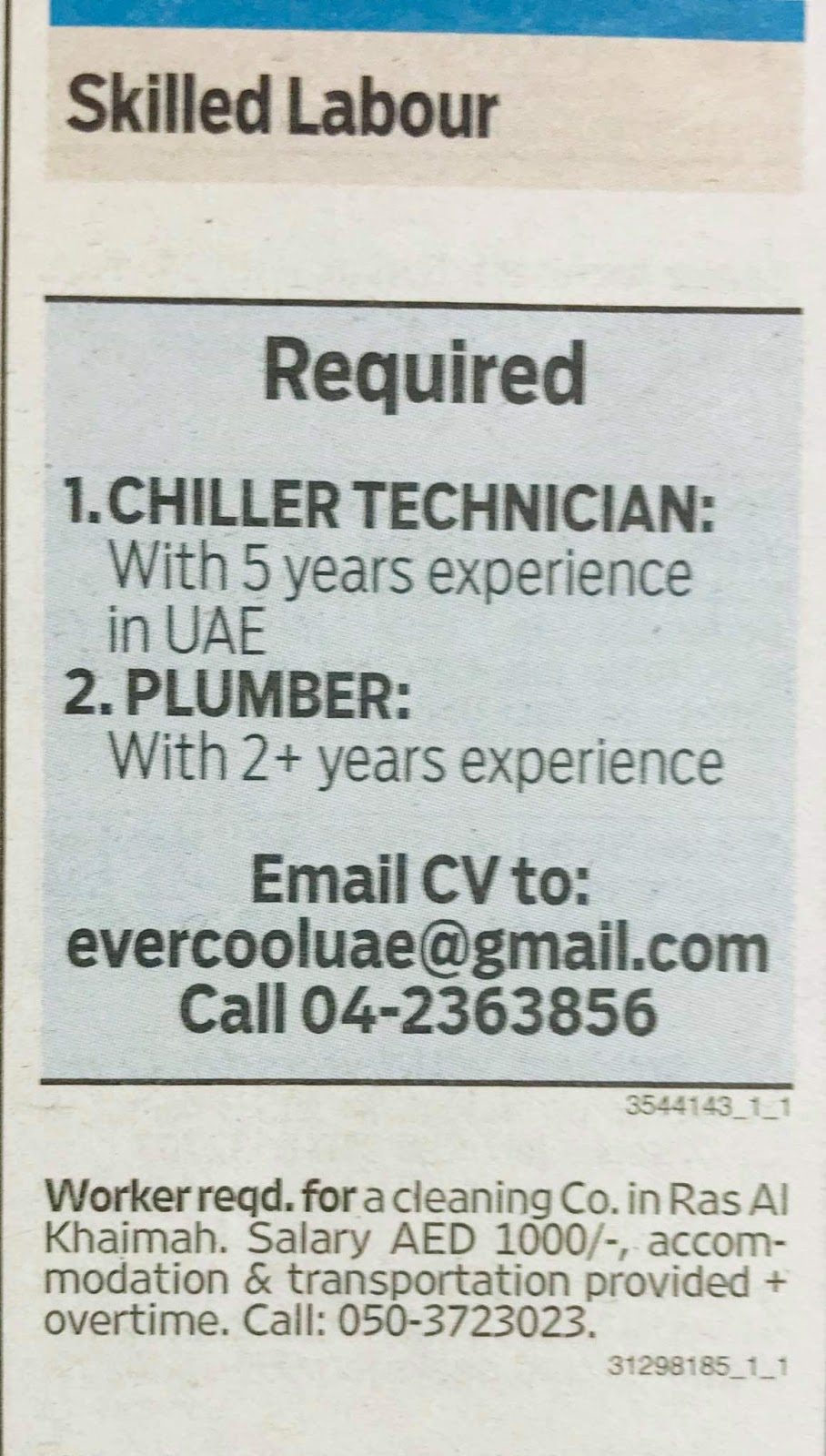 Required for TECHNICIAN, PLUMBER UAE Local Hiring JOBS