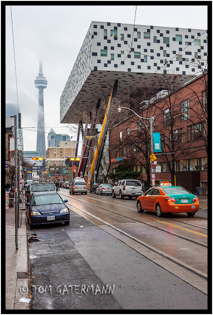 Looking Down McCaul Street Toward The CN Tower from OCAD.