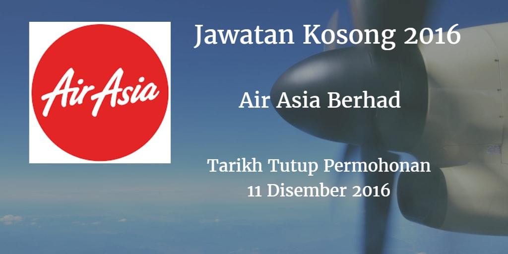 Jawatan Kosong Air Asia Berhad 25 November 2016