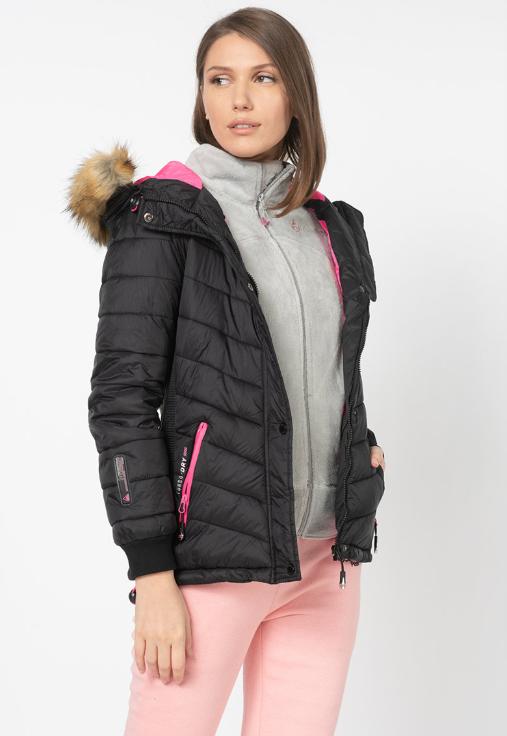 Geaca de femei de calitate pentru iarna scurta neagra firma Geographical Norway