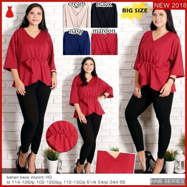 HNB253 Model New Tiedup Basic Blouse Ukuran Besar BMG Shop