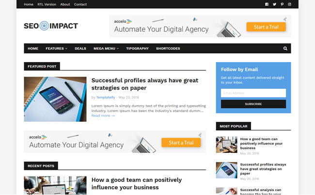 [Free Download] SEO Impact Blogger Template
