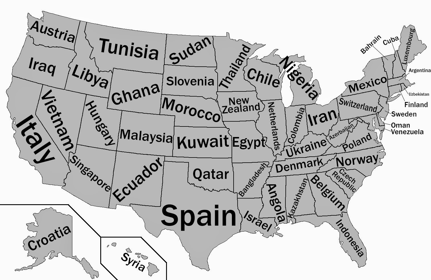This map shows U.S. states labeled as countries with similar GDPs