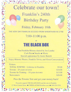 Celebrate Franklin's 240th Birthday Party - Feb 16 - at THE BLACK BOX