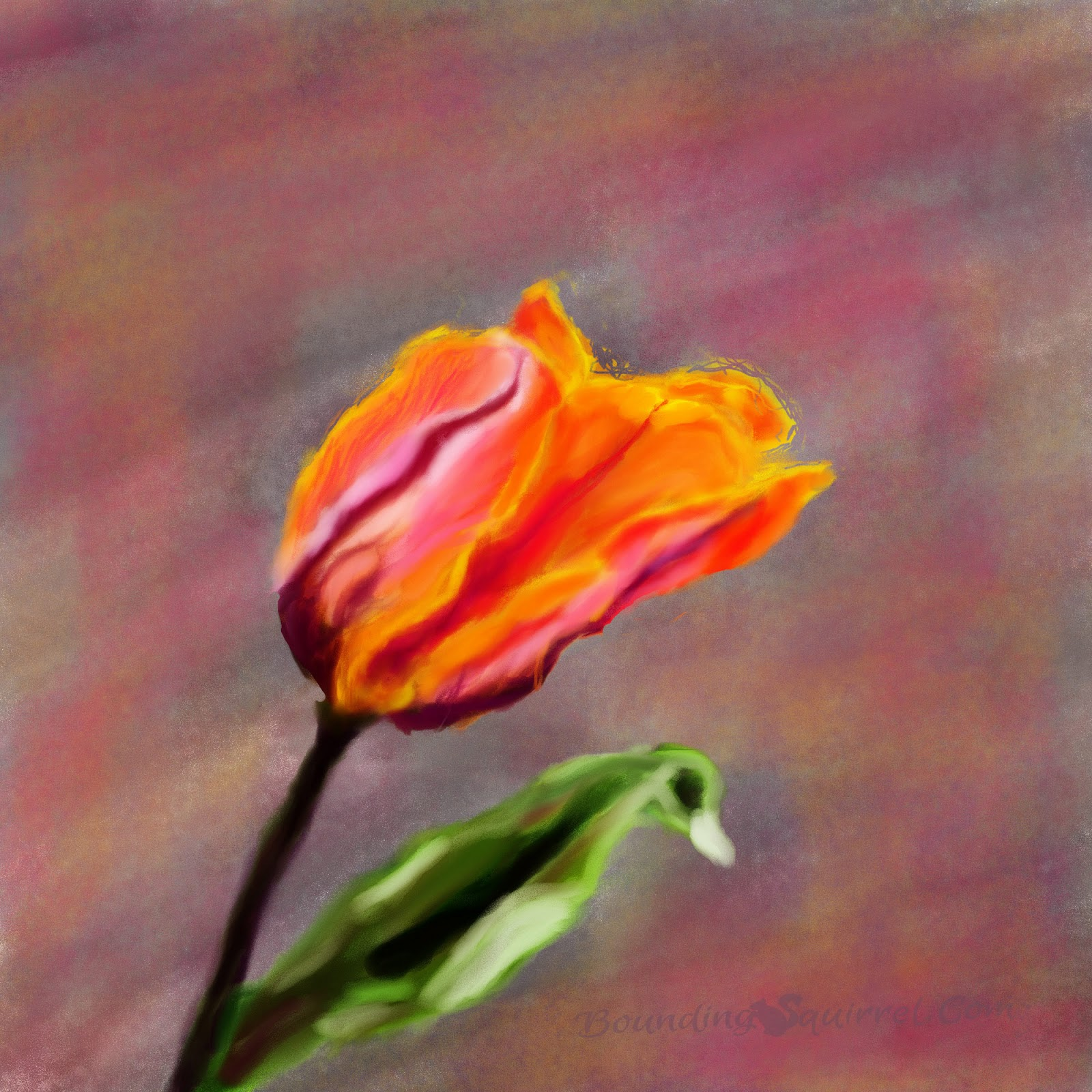 Digital painting of a colourful orange, gold, purple and pink tulip