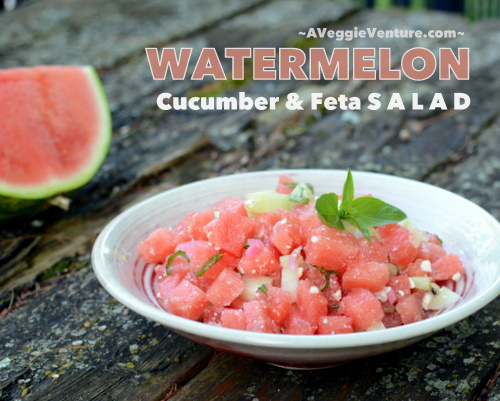 Watermelon, Cucumber & Feta Salad, another summer salad recipe ♥ AVeggieVenture.com, a simple classic combo. Quick. Weeknight Easy. Low Carb. Weight Watchers Friendly. Naturally Gluten Free.