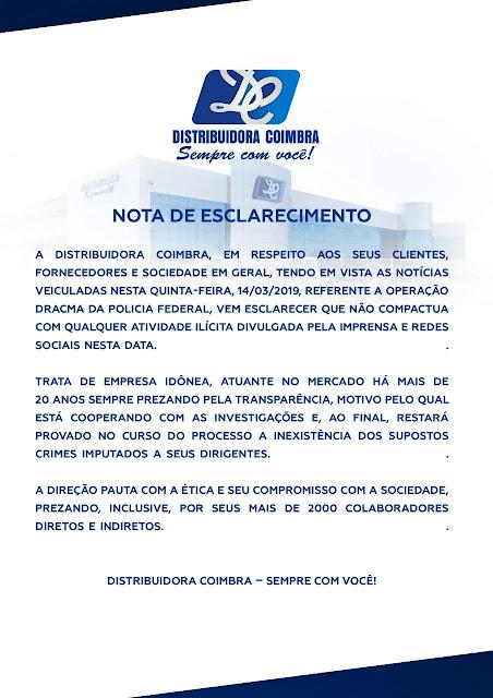 Nota de Esclarecimento da Distribuidora Coimbra
