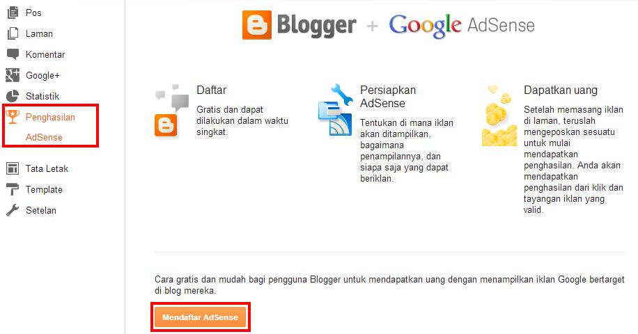 Daftar Adsense Dari Blogspot