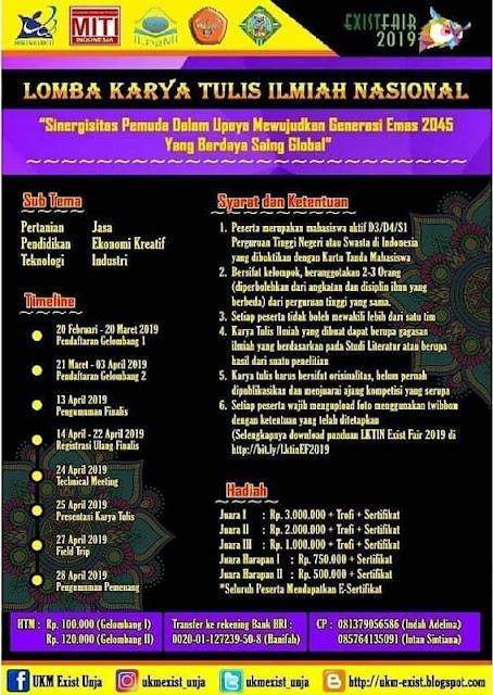Lomba Karya Tulis Ilmiah Nasional Exist Fair 2019 Mahasiswa