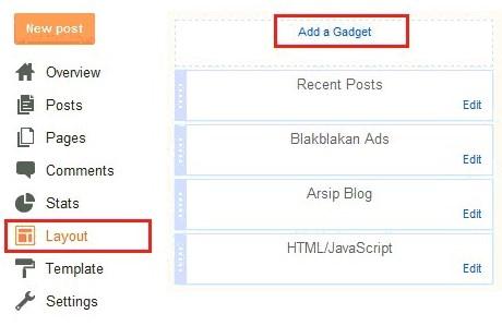 cara memasang widget terbaru
