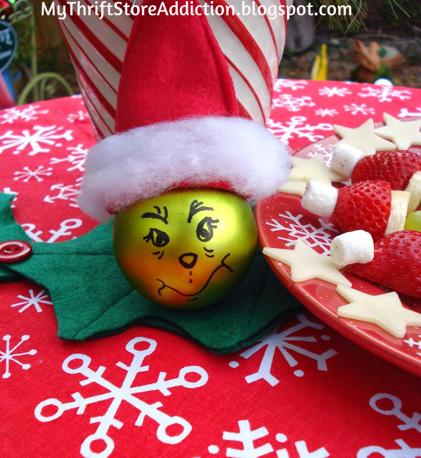 Handmade Grinch Christmas ornament