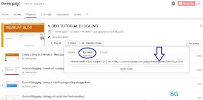 Cara Memasang Playlist Video Youtube ke dalam Blog