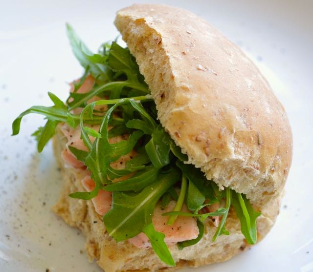 Salmon and Rocket Bread Roll