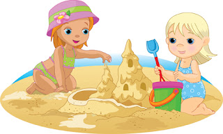 Clipart Image of Two Children Playing in the Sand at the Beach