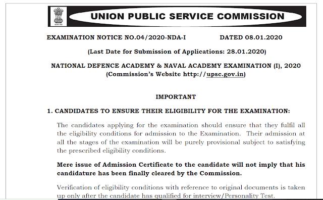 UPSC NDA NA Exam 2020