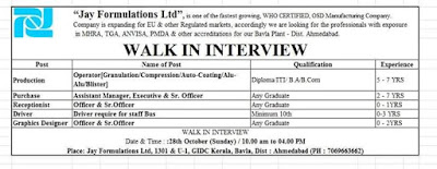 Walk in Interview for Pharma company