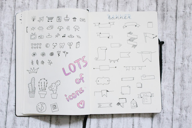 Bullet Journal Icons and Banners