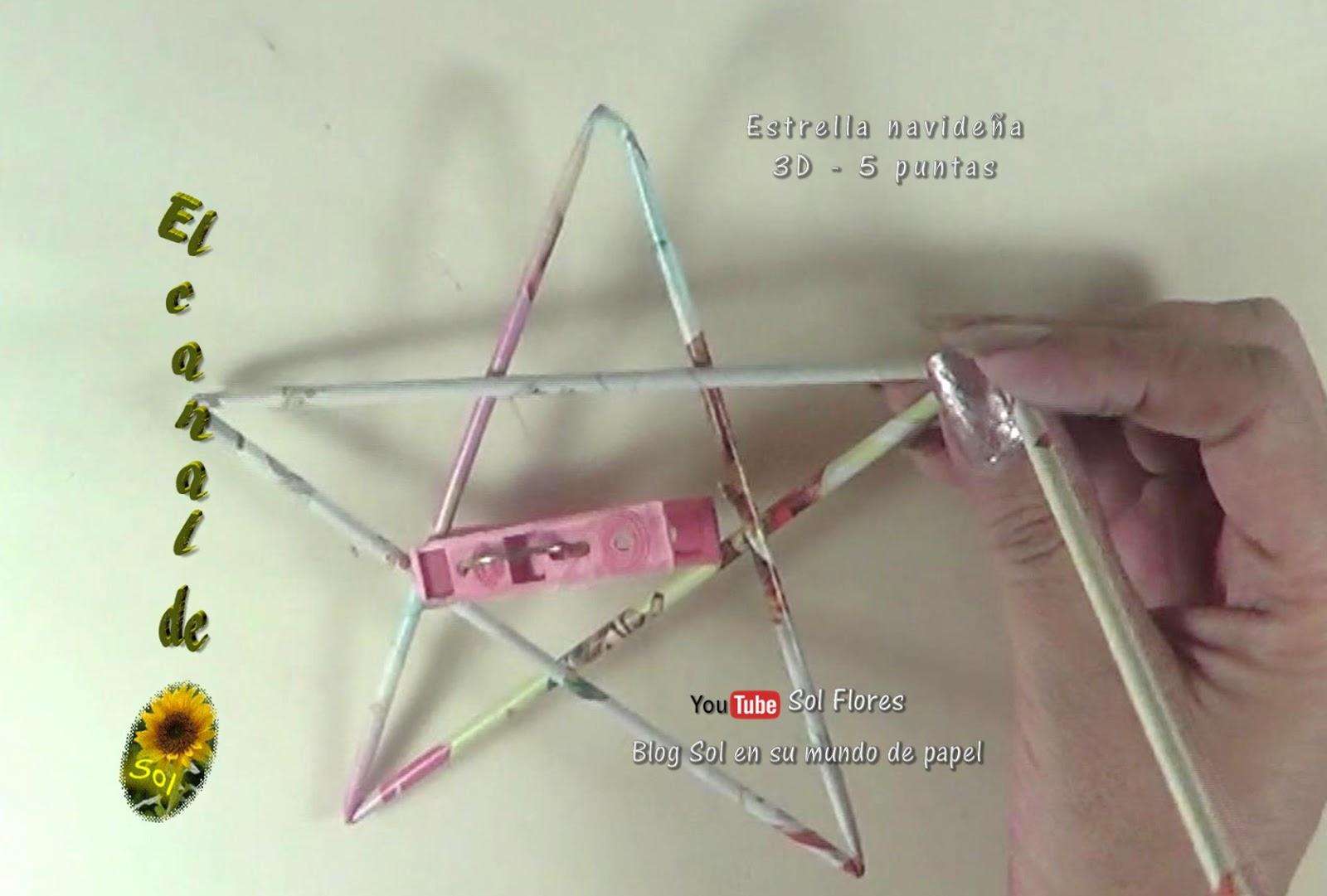 Estrella 3D de cinco puntas con papel periódico