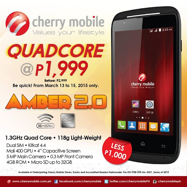 Cherry Mobile Amber 2.0 Specs, Price and Availability