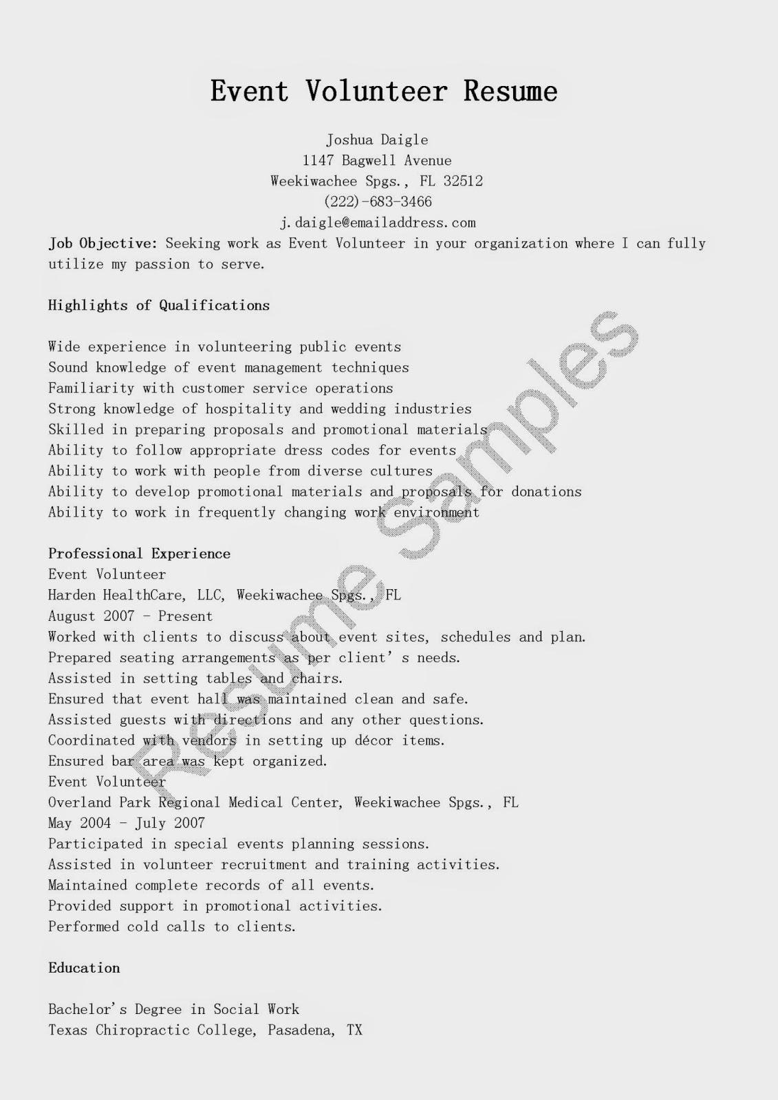 resume samples event volunteer resume sample