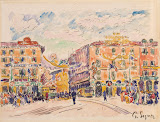 City Square (Pencil, watercolour and gouache on laid paper, circa 1925 - Cityscape Painting) by Paul Signac