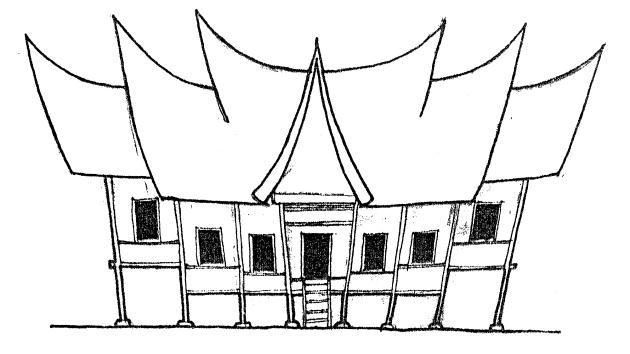 Sketsa Rumah Gadang Png Sempoa Dunia