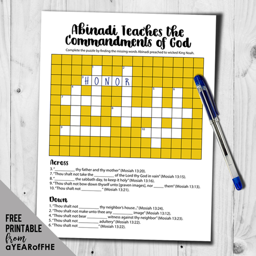A Year of FHE // A crossword puzzle that older kids and teens can complete by looking up scriptures to see what ABINADI taught.  THis free printable is great for Sacrament meeting, Family Hoem Evening, or a Seminary. #lds #printable #free #bookofmormon