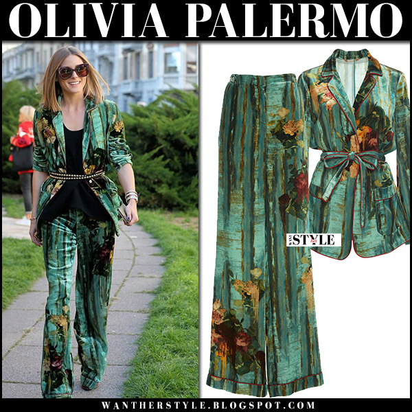 Olivia Palermo in green floral print jacket and green floral print trousers alberta ferretti at Milan Fashion Week 2017 front row