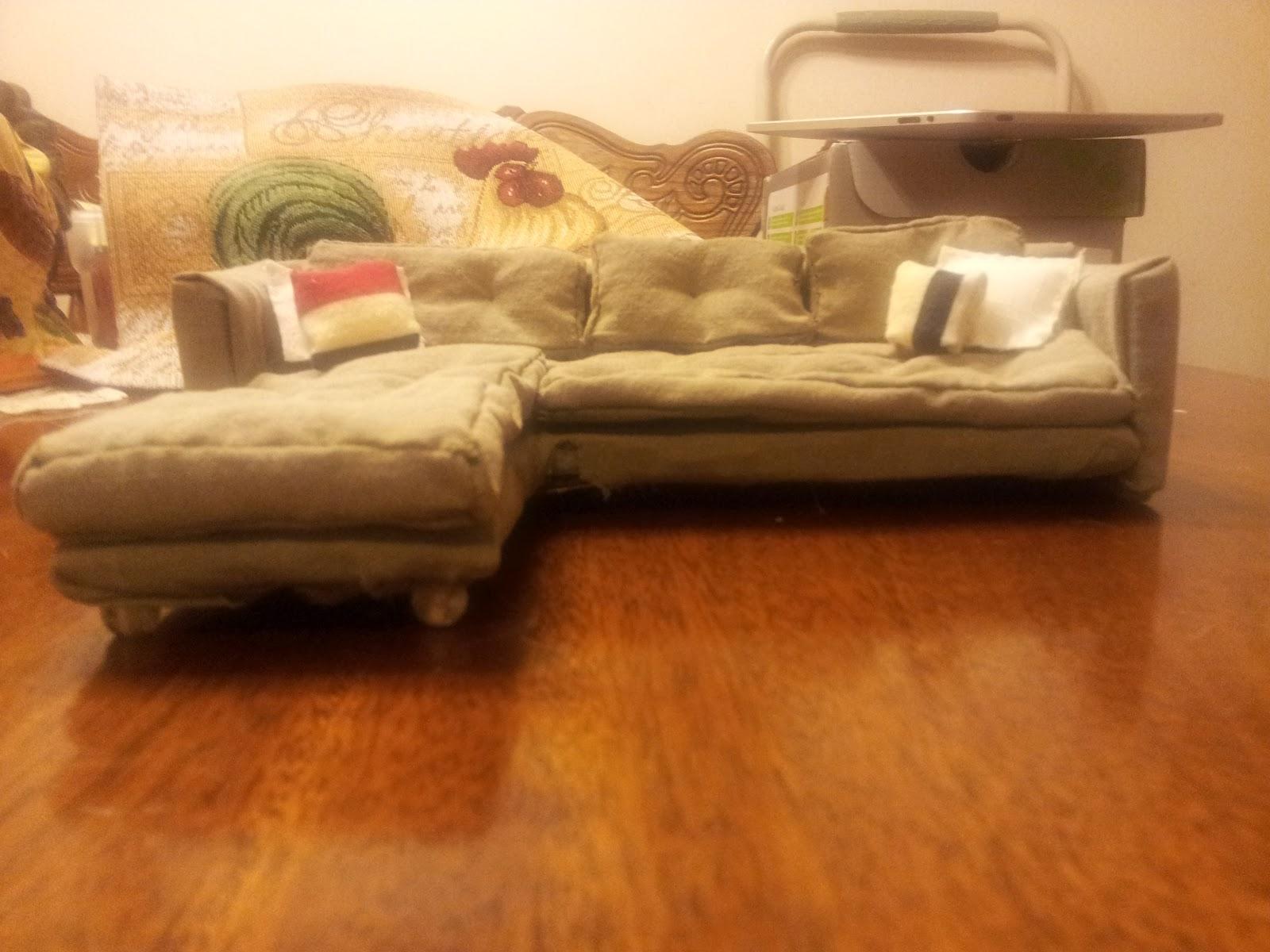 dollhouse miniature sectional sofa billig chaiselong stof diy