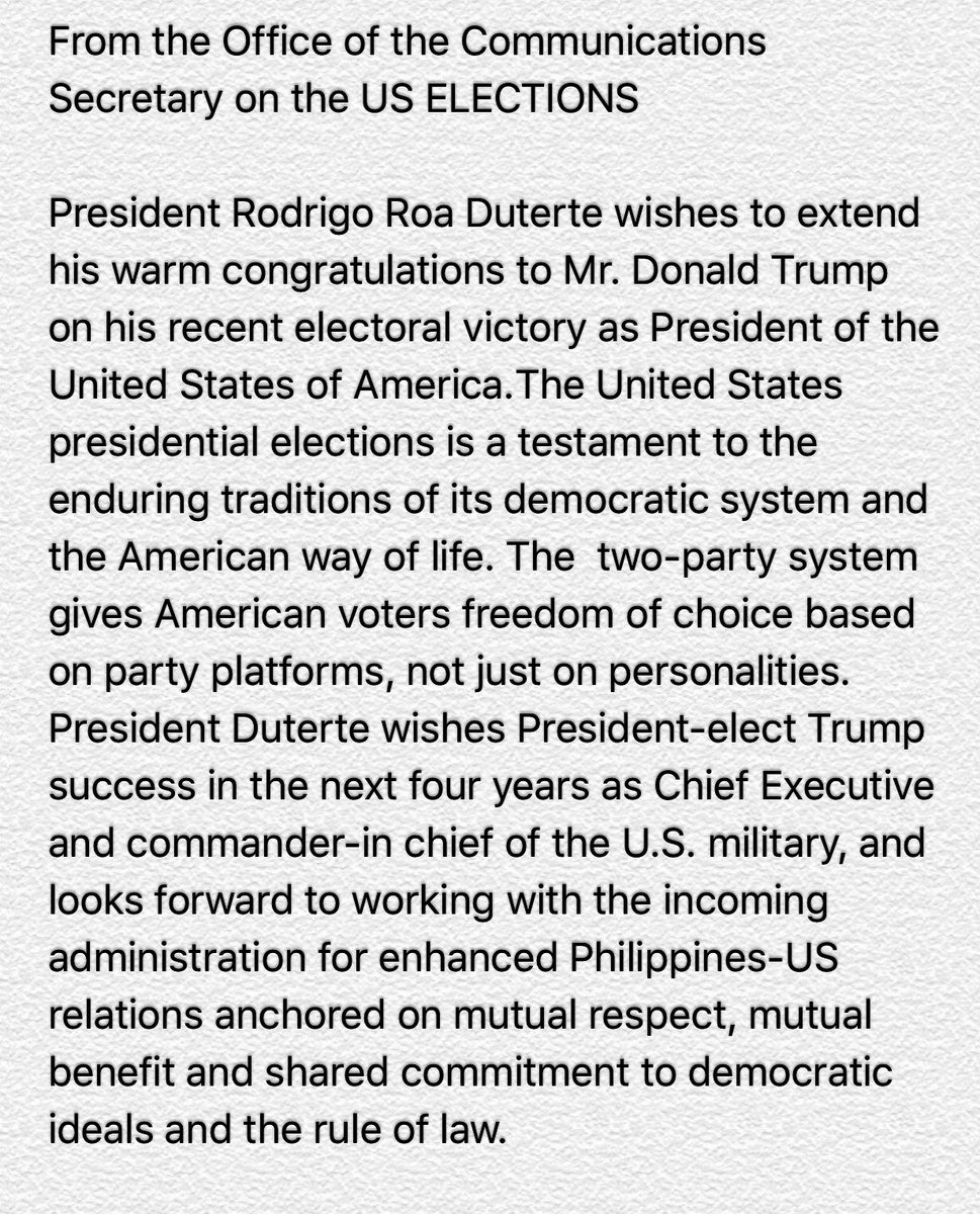 Duterte congratulates Trump